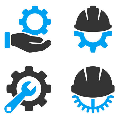 Herramientas de desarrollo iconos vectoriales. El estilo es símbolos bicolores planas pintadas con los colores azul y gris sobre un fondo blanco, ángulos son redondeados. Ilustración de vector