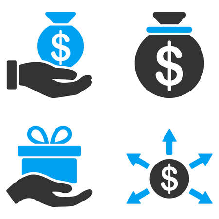 bicolored: Donation vector icons. Style is flat bicolored symbols painted with blue and gray colors on a white background, angles are rounded.