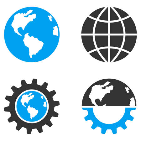 bicolored: Global Industry vector icons. Style is flat bicolored symbols painted with blue and gray colors on a white background, angles are rounded. Illustration