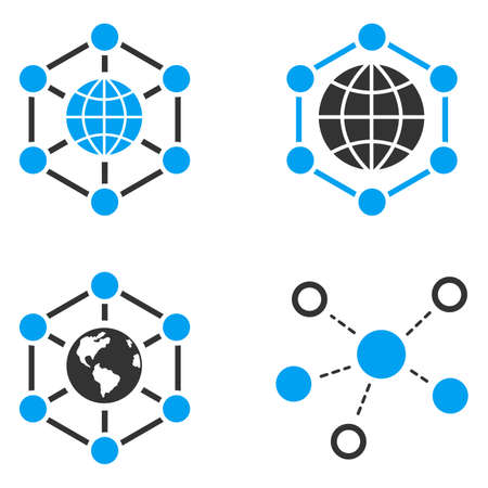Global Networks vector icons. Style is flat bicolored symbols painted with blue and gray colors on a white background, angles are rounded.