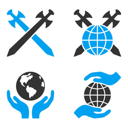 bicolored: Global Safety vector icons. Style is flat bicolored symbols painted with blue and gray colors on a white background, angles are rounded. Illustration