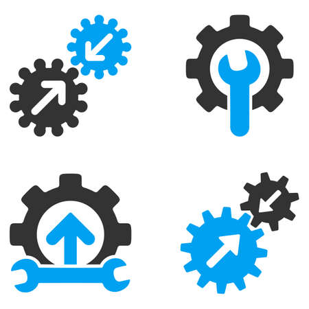 bicolored: Integration Tools vector icons. Style is flat bicolored symbols painted with blue and gray colors on a white background, angles are rounded.