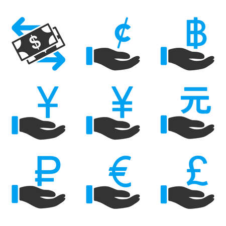 bicolored: International Payments vector icons. Style is flat bicolored symbols painted with blue and gray colors on a white background, angles are rounded.