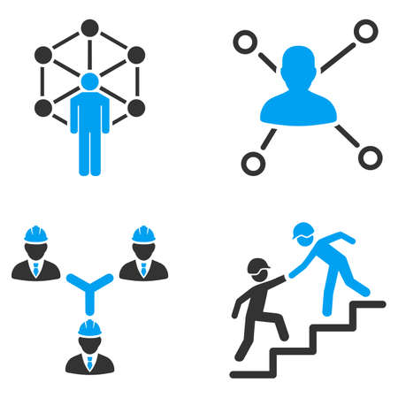relation: People Relation Networks vector icons. Style is flat bicolored symbols painted with blue and gray colors on a white background, angles are rounded.