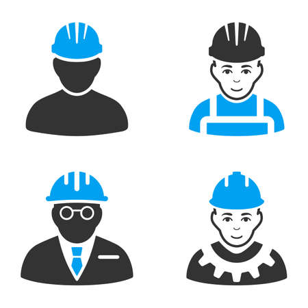 clients: Professional Worker vector icons. Style is flat bicolored symbols painted with blue and gray colors on a white background, angles are rounded.