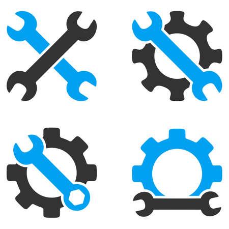 Outils de réparation vector icons. Le style est plat symboles bicolores peints avec des couleurs bleues et grises sur un fond blanc, les angles sont arrondis.