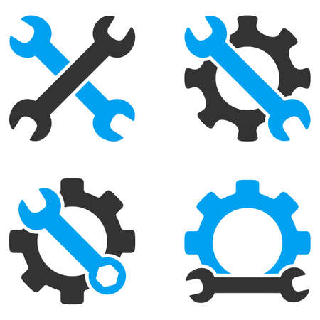 hardware configuration: Repair Tools vector icons. Style is flat bicolored symbols painted with blue and gray colors on a white background, angles are rounded. Illustration