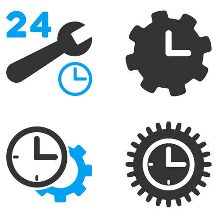 bicolored: Service Time vector icons. Style is flat bicolored symbols painted with blue and gray colors on a white background, angles are rounded.