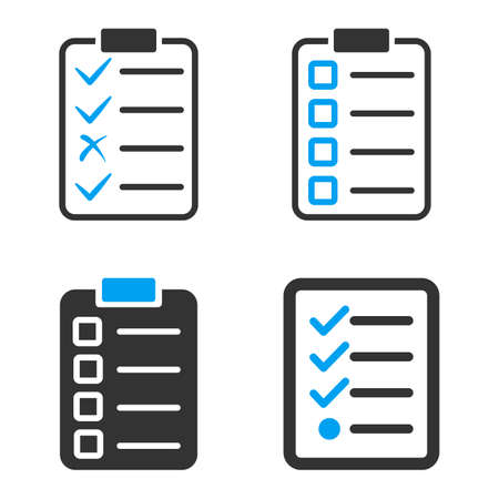enumerate: Task List Pad vector icons. Style is flat bicolored symbols painted with blue and gray colors on a white background, angles are rounded.