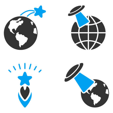 space flight: Ufo Space Flight vector icons. Style is flat bicolored symbols painted with blue and gray colors on a white background, angles are rounded.
