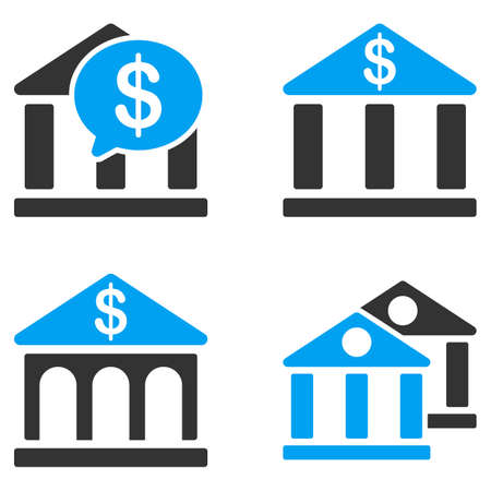 bicolored: Bank Buildings glyph icons. Style is flat bicolored symbols painted with blue and gray colors on a white background, angles are rounded. Stock Photo