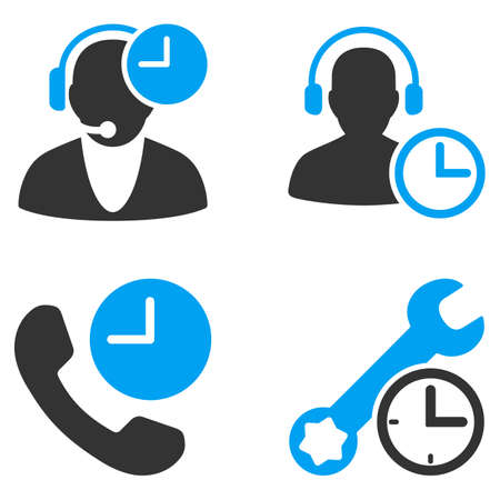 bicolored: Call Center Service Time glyph icons. Style is flat bicolored symbols painted with blue and gray colors on a white background, angles are rounded.