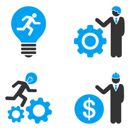 bicolored: Developer Job glyph icons. Style is flat bicolored symbols painted with blue and gray colors on a white background, angles are rounded. Stock Photo