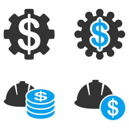 bicolored: Development Price glyph icons. Style is flat bicolored symbols painted with blue and gray colors on a white background, angles are rounded.
