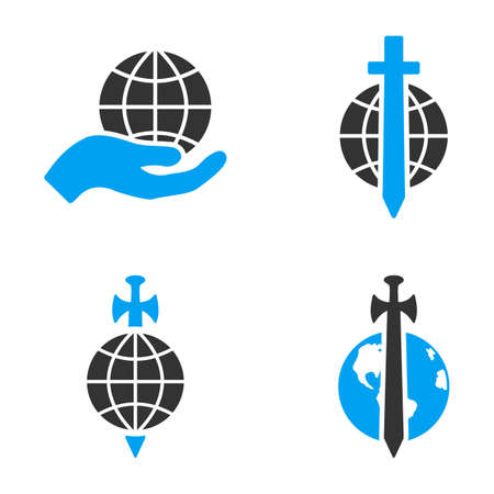bicolored: Earth Protection glyph icons. Style is flat bicolored symbols painted with blue and gray colors on a white background, angles are rounded.