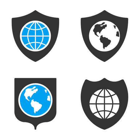 bicolored: Earth Shield glyph icons. Style is flat bicolored symbols painted with blue and gray colors on a white background, angles are rounded.
