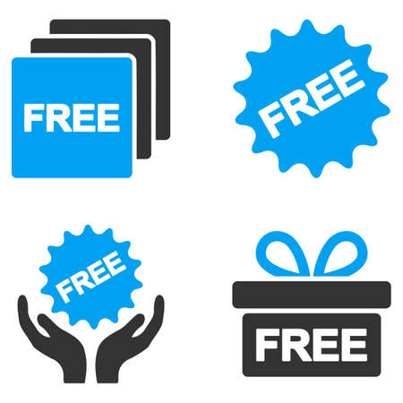 bicolored: Free Gifts glyph icons. Style is flat bicolored symbols painted with blue and gray colors on a white background, angles are rounded. Stock Photo
