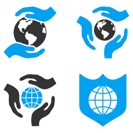 bicolored: Global Care glyph icons. Style is flat bicolored symbols painted with blue and gray colors on a white background, angles are rounded.
