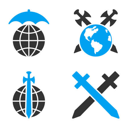 bicolored: Global Guard glyph icons. Style is flat bicolored symbols painted with blue and gray colors on a white background, angles are rounded.