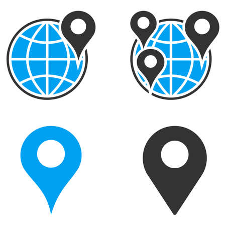 sphere base: GPS Map Markers glyph icons. Style is flat bicolored symbols painted with blue and gray colors on a white background, angles are rounded.