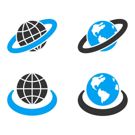 bicolored: Earth Orbit glyph icons. Style is flat bicolored symbols painted with blue and gray colors on a white background, angles are rounded.