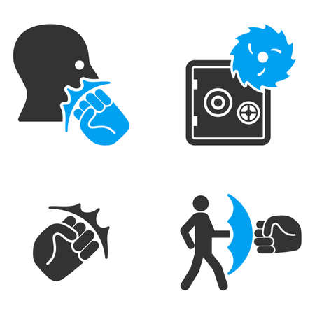 robbery: Robbery Fist Strike glyph icons. Style is flat bicolored symbols painted with blue and gray colors on a white background, angles are rounded.