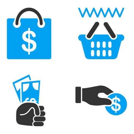 bicolored: Shopping Payment glyph icons. Style is flat bicolored symbols painted with blue and gray colors on a white background, angles are rounded.