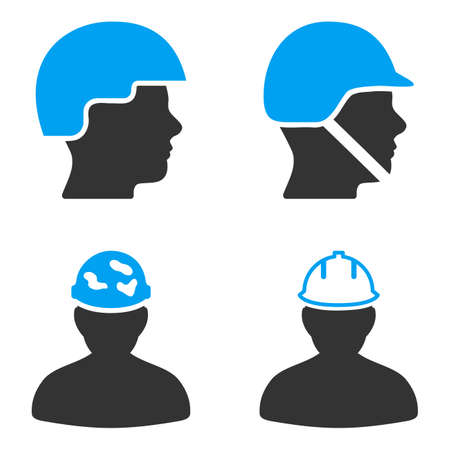 bicolored: Worker Hardhat glyph icons. Style is flat bicolored symbols painted with blue and gray colors on a white background, angles are rounded.