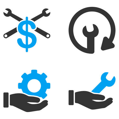bicolored: Service Tools glyph icons. Style is flat bicolored symbols painted with blue and gray colors on a white background, angles are rounded. Stock Photo