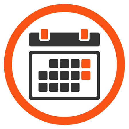 syllabus: Month Calendar glyph icon. Style is bicolor flat rounded symbol, orange and gray colors, rounded angles, white background.