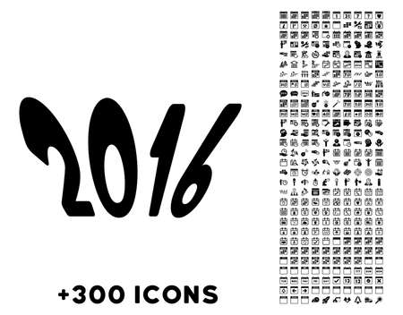dataset: 2016 Year glyph pictogram with additional 300 date and time management icons. Style is flat symbols, black color, rounded angles, white background.
