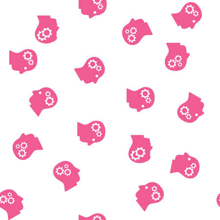 config: Intellect Seamless vector repeatable pattern. Style is flat pink heads with internal gears on a white background.