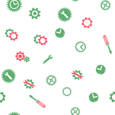 clockface: Time Tools Seamless vector repeatable pattern. Style is flat red and green symbols on a white background.