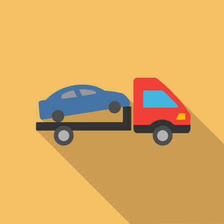evacuation: Car Evacuation long shadow vector icon. Style is a flat symbol with rounded angles on a colored square button.