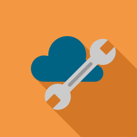 config: Cloud Tools long shadow vector icon. Style is a flat symbol with rounded angles on a colored square button.