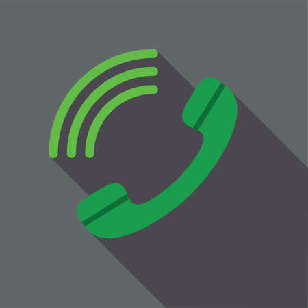 square button: Dial long shadow vector icon. Style is a flat symbol with rounded angles on a colored square button.