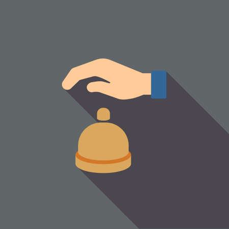 call bell: Reception Call Bell long shadow vector icon. Style is a flat symbol with rounded angles on a colored square button.