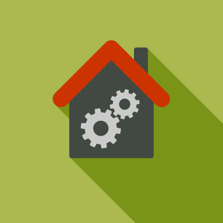 Workhouse long shadow raster icon. Style is a flat symbol with rounded angles on a colored square button. Stock Photo