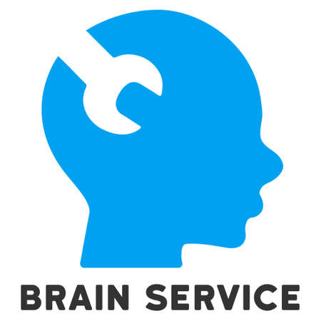 caption: Brain Service vector icon with caption. Style is a flat symbol with rounded angles, light blue and gray colors.