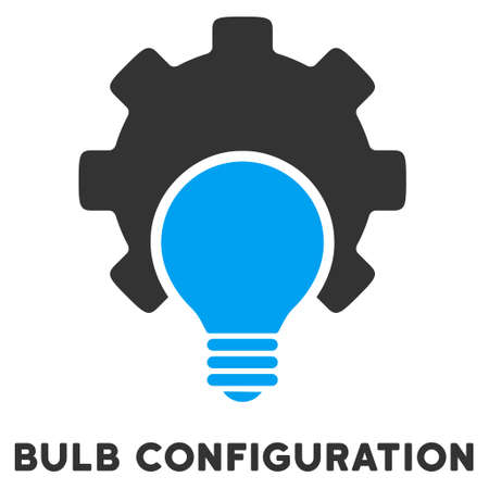gray bulb: Bulb Configuration vector icon with caption. Style is a flat symbol with rounded angles, light blue and gray colors. Illustration