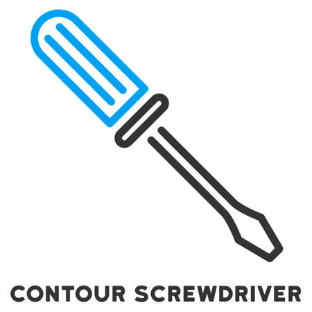 caption: Contour Screwdriver vector icon with caption. Style is a flat symbol with rounded angles, light blue and gray colors. Illustration
