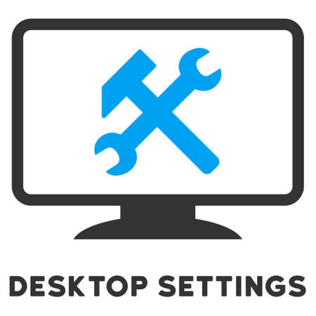caption: Desktop Settings vector icon with caption. Style is a flat symbol with rounded angles, light blue and gray colors.