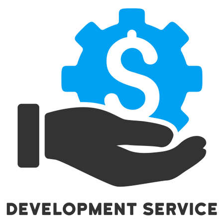 caption: Development Service vector icon with caption. Style is a flat symbol with rounded angles, light blue and gray colors. Illustration
