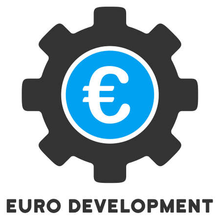 caption: Euro Development vector icon with caption. Style is a flat symbol with rounded angles, light blue and gray colors.