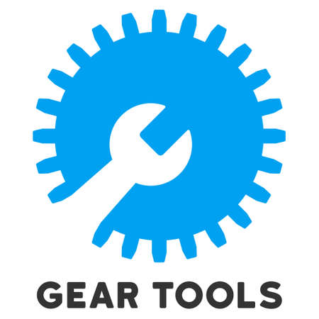 caption: Gear Tools vector icon with caption. Style is a flat symbol with rounded angles, light blue and gray colors. Illustration