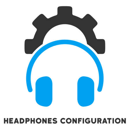 configuration: Headphones Configuration vector icon with caption. Style is a flat symbol with rounded angles, light blue and gray colors.