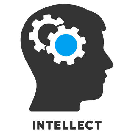 caption: Intellect vector icon with caption. Style is a flat symbol with rounded angles, light blue and gray colors.