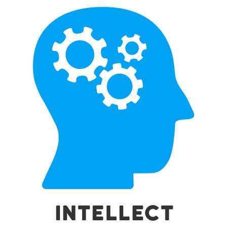 intellect: Intellect vector icon with caption. Style is a flat symbol with rounded angles, light blue and gray colors.