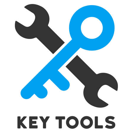caption: Key Tools vector icon with caption. Style is a flat symbol with rounded angles, light blue and gray colors.