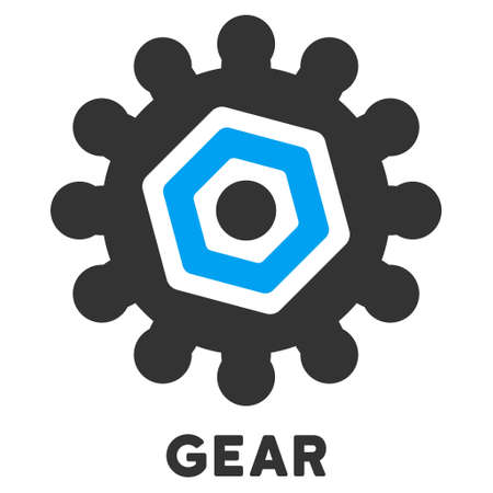 caption: Gear vector icon with caption. Style is a flat symbol with rounded angles, light blue and gray colors.